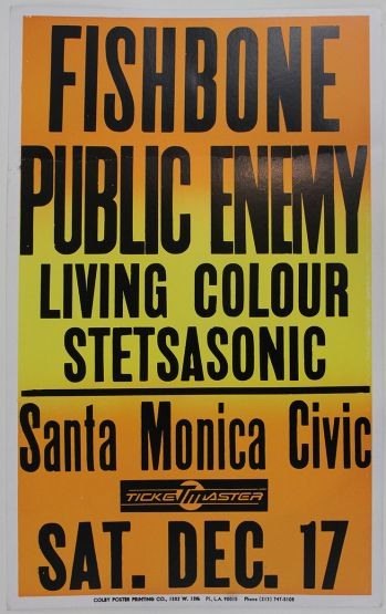 ORIGINAL CONCERT POSTER FOR THE LEGENDARY PUBLIC ENEMY PERFORMANCE AT THE SANTA MONICA CIVIC AUDITORIUM. -  image 1
