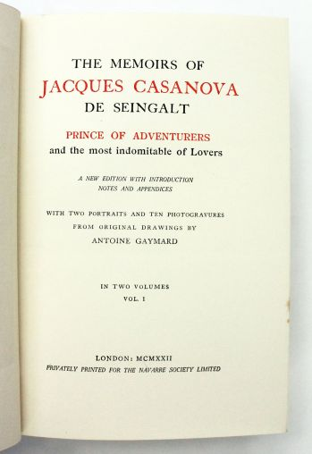 THE MEMOIRS OF JACQUES CASANOVA DE SEINGALT PRINCE OF ADVENTURERS AND THE MOST INDOMITABLE OF LOVERS. -  image 4