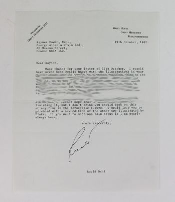 TYPED LETTER SIGNED FROM ROALD DAHL TO HIS PUBLISHER RAYNER UNWIN. -  image 1