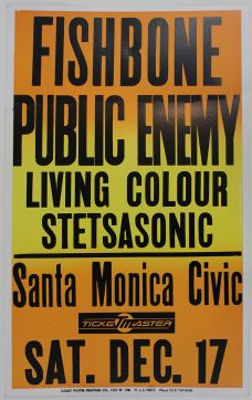 ORIGINAL CONCERT POSTER FOR THE LEGENDARY PUBLIC ENEMY PERFORMANCE AT THE SANTA MONICA CIVIC AUDITORIUM.