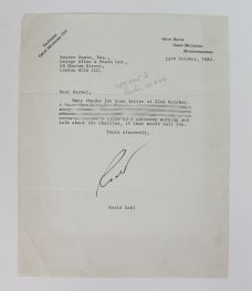 TYPED LETTER SIGNED FROM ROALD DAHL TO HIS PUBLISHER RAYNER UNWIN.